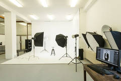 80m2 large photostudio with a story in Bratislava with Blackout / total black,  Backgrounds and Infinity wall