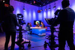 High-end live (web)tv green screen studio in Amsterdam with Studio assistant / crew,  Backgrounds and Infinity wall